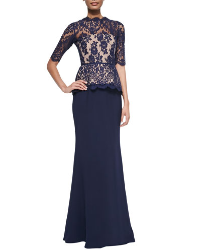 Evelyn Half-Sleeve Lace-Bodice Gown