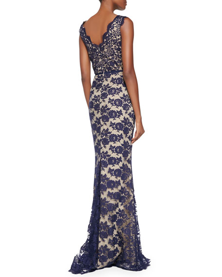Yvonne Sleeveless Lace V-Neck Gown