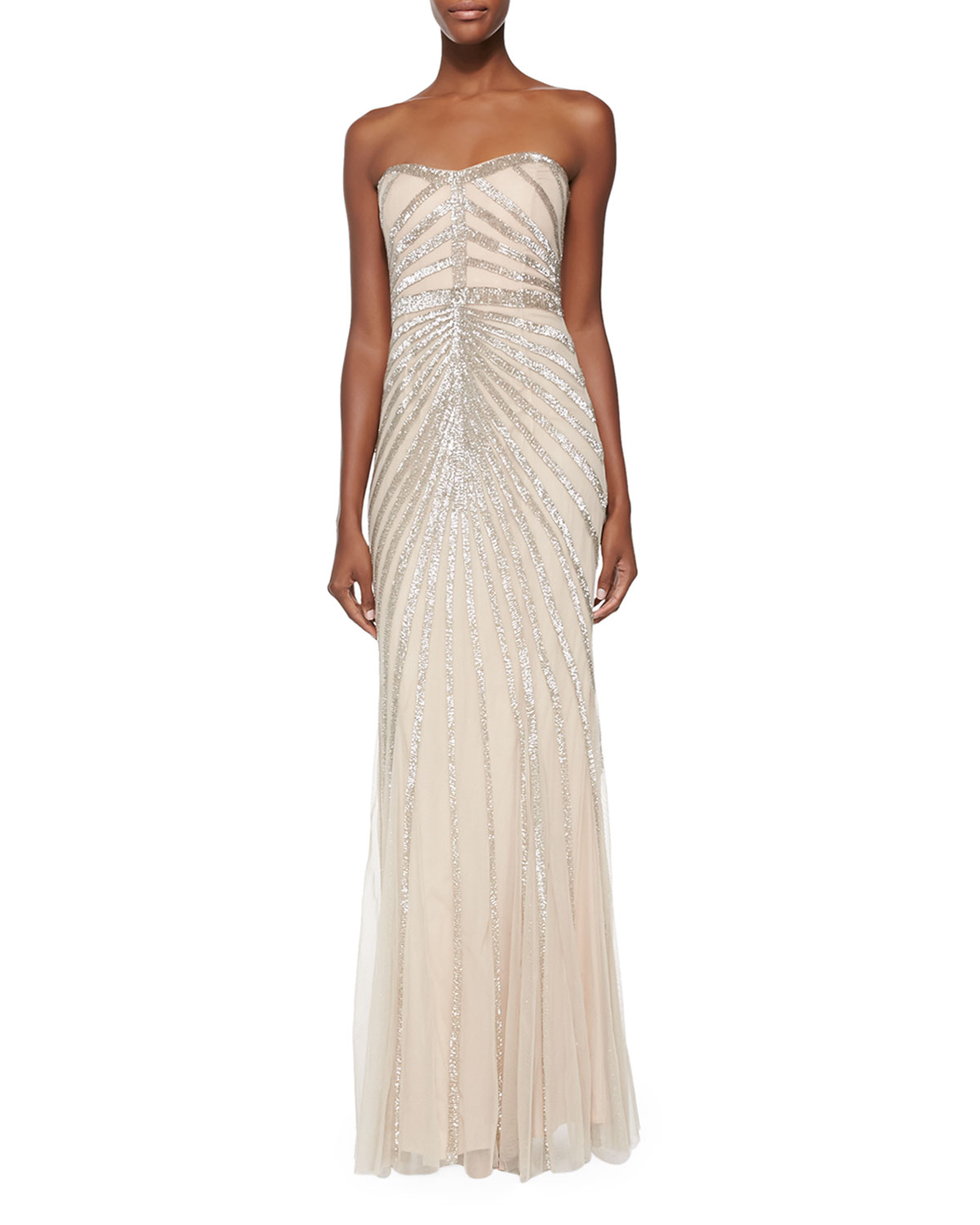 56569c439df120 Rachel Gilbert Blair Strapless Beaded-Pattern Gown