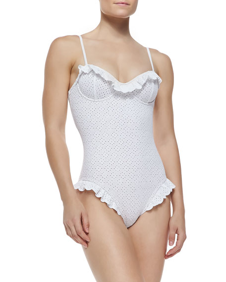 Ruffled Eyelet Underwire One-Piece Swimsuit