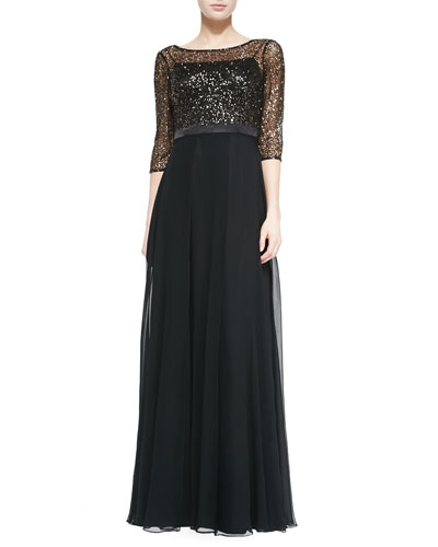 3/4-Sleeve Gown W/ Sequined Bodice