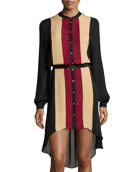 Haute Hippie Striped Georgette Button-Front High-Low Dress