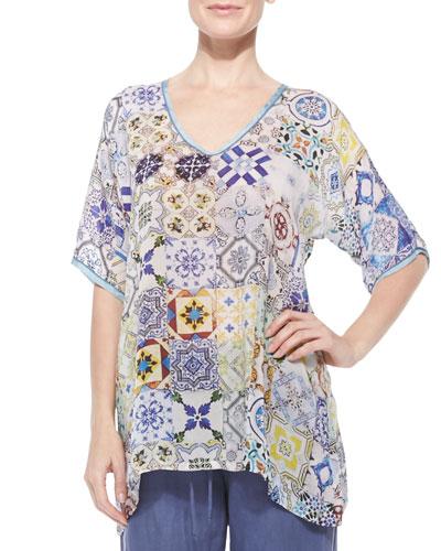 Short-Sleeve Mosaic-Print Tunic, Women's