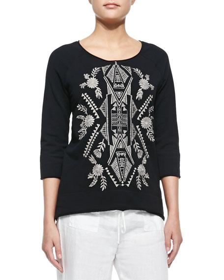 Mariko 3/4-Sleeve Embroidered Sweatshirt, Women's