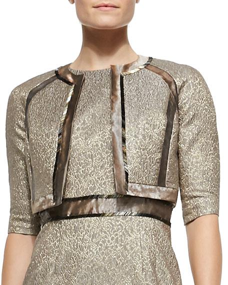 Carmen Marc Valvo 3/4-Sleeve Metallic Jacquard Bolero Jacket
