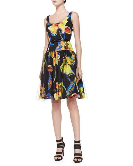 Milly Natalie Pop Art Floral Cocktail Dress
