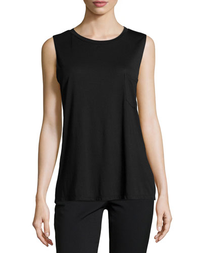 Jersey Front-Pocket Beaded Tank, Black
