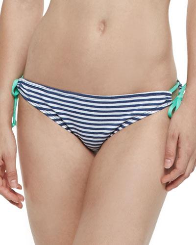 Striped Side-Tie Swim Bottom
