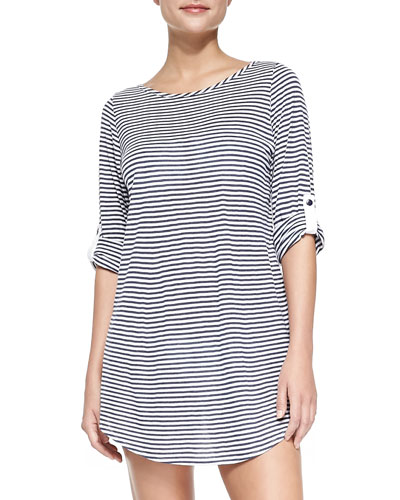 Striped Tunic with Button-Tab Sleeves, Navy