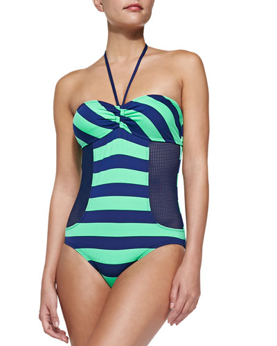 Striped One-Piece Swimsuit W/ Mesh Sides