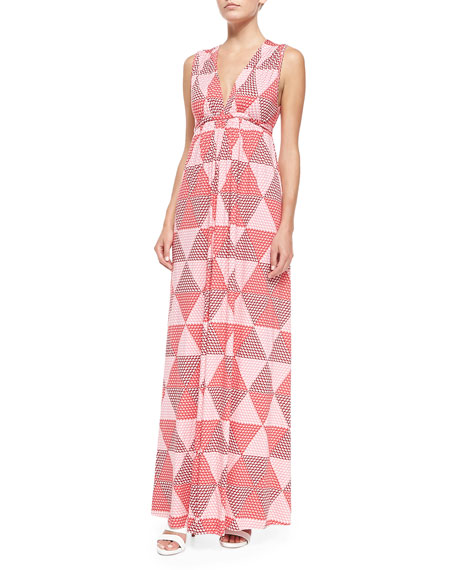 Sleeveless Hexagon-Print Jersey Maxi Dress, Women's