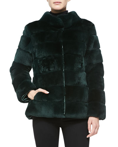 Trilogy Sheared Rex Rabbit Jacket, Green