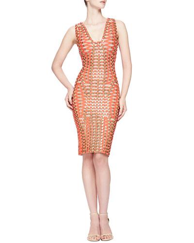 Herve Leger Woven V-Neck Bandage Dress
