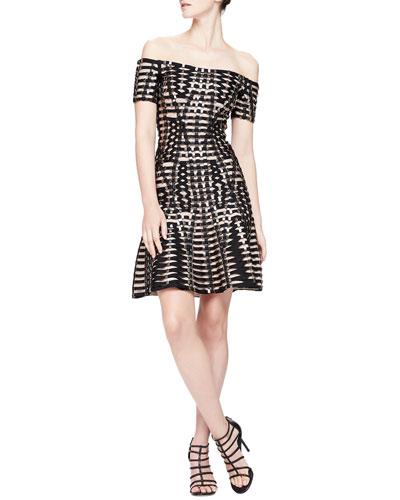 Herve Leger Off-The-Shoulder Hardware Bandage Dress