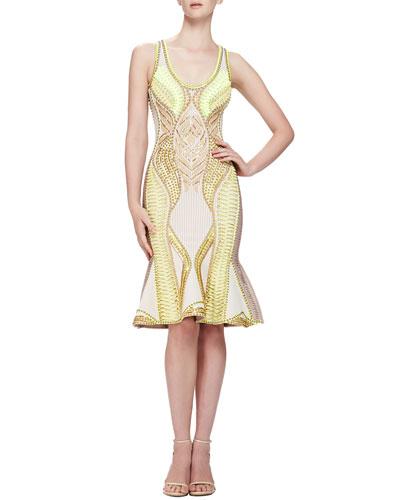 Herve Leger Multi-Embellished Knit Dress