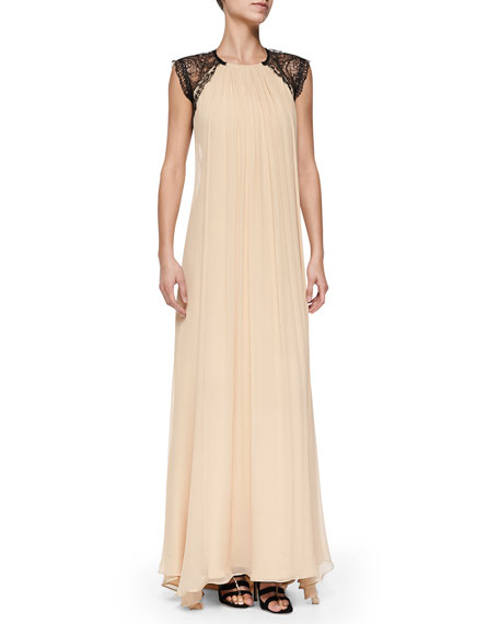 Gela Open-Back Gown W/ Lace Detail
