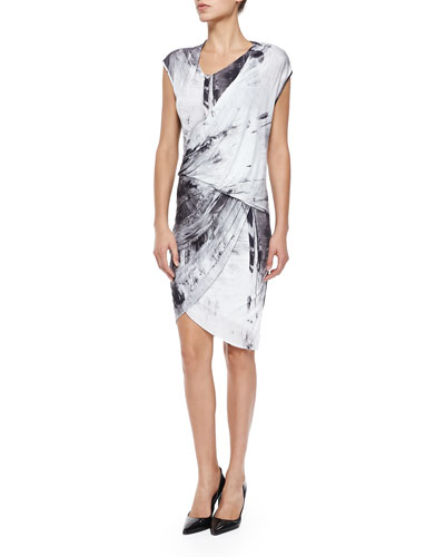 Helmut Lang Printed Draped Wrapped Jersey Dress