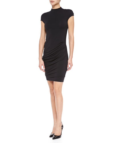 Helmut Lang Nova Drape-Skirt Jersey Dress
