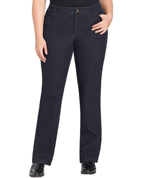 Curvy Bi-Stretch Slim-Leg Jeans, Dark Indigo
