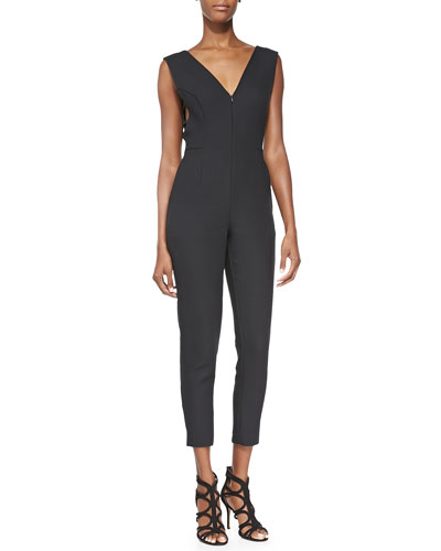 V-Neck Cutout Jumpsuit, Black