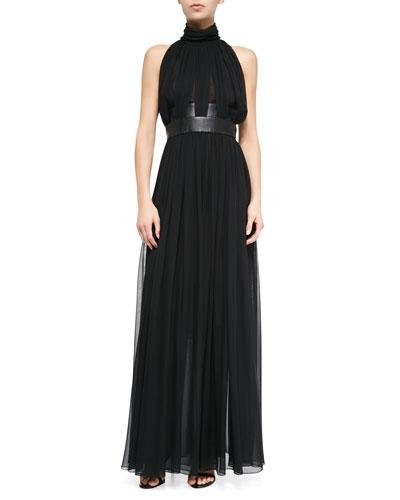 Long Leather-Inset Gathered Chiffon Dress, Black