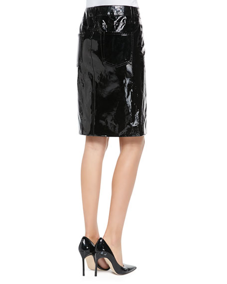 Tamara Mellon Patent Leather Pencil Skirt, Black