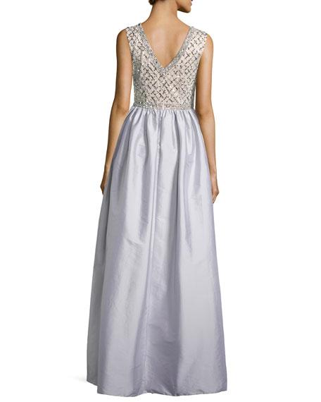 Beaded Bodice Taffeta Skirt Gown, Gray