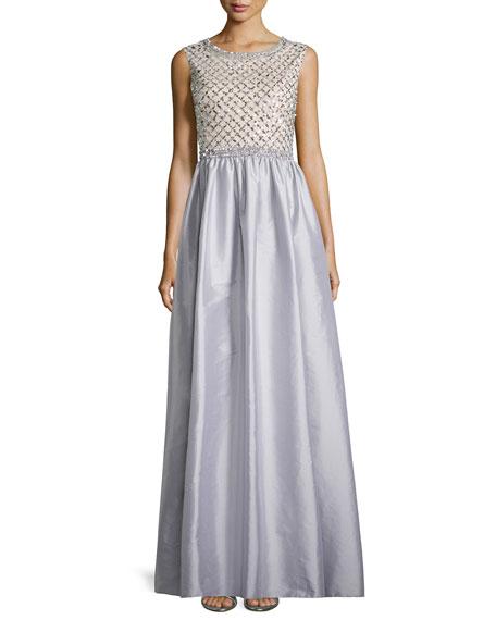Aidan Mattox Beaded Bodice Taffeta Skirt Gown, Gray