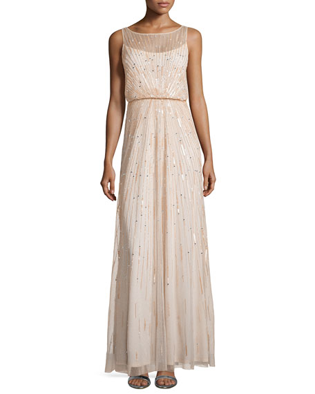 Aidan Mattox Illusion-Neck Beaded Gown, Blush