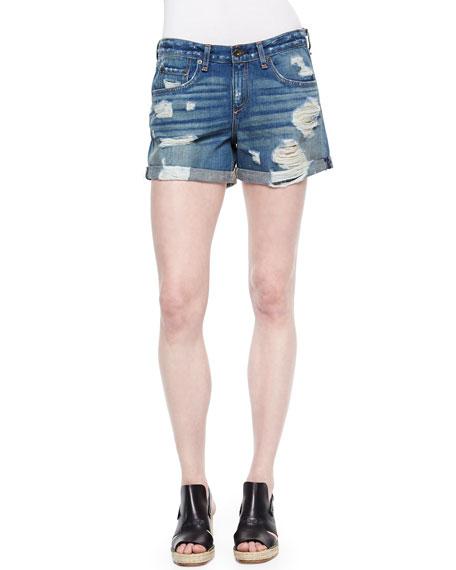 Destroyed Cuffed Denim Boyfriend Shorts