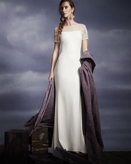 Beaded Short-Sleeve Mermaid Gown
