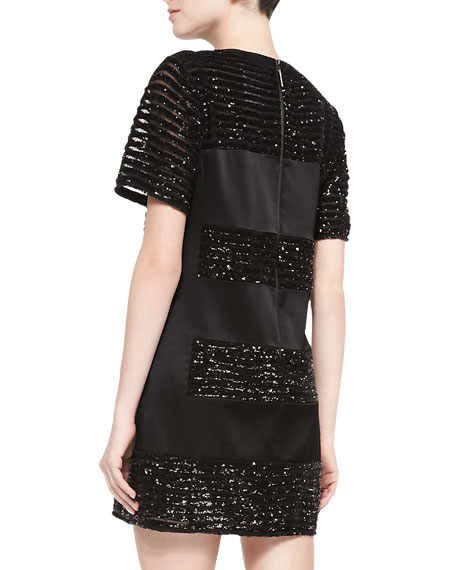 Lustrous Short-Sleeve Dress W/ Sequined Bands