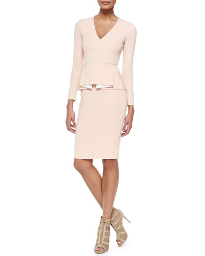 Raoul Francis Long-Sleeve Dress with Box-Pleated Peplum