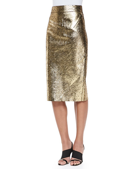 raoul metallic leather pencil skirt