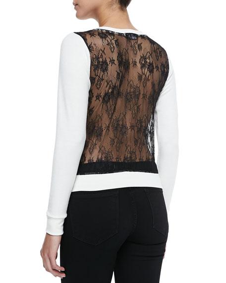 Lace-Back Shrunken Knit Sweater
