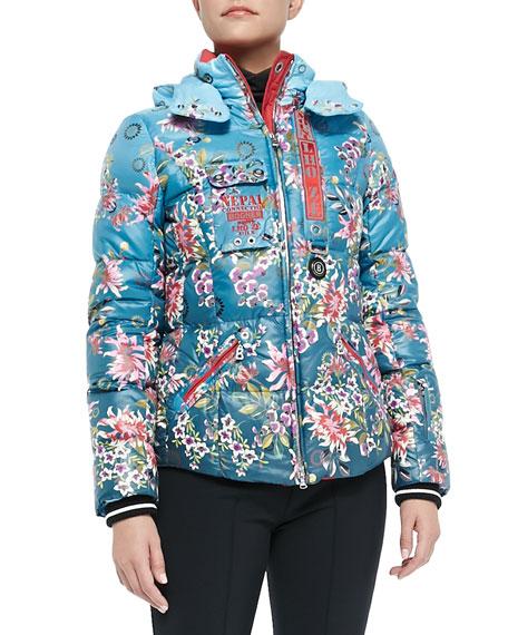 Kaja Floral-Print Puffer Jacket