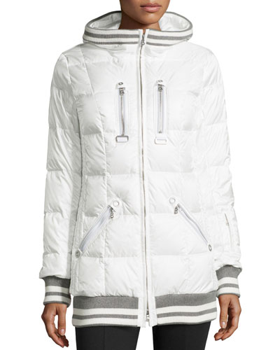 Muria Striped-Trim Hooded Puffer Jacket