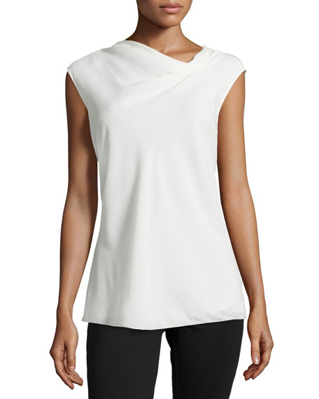 Armani Collezioni Gathered-Neck Silk Blouse