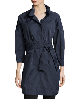 Ruched-Collar Belted Coat