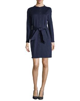 Zip-Front Collarless Coat with Tie Belt, Navy