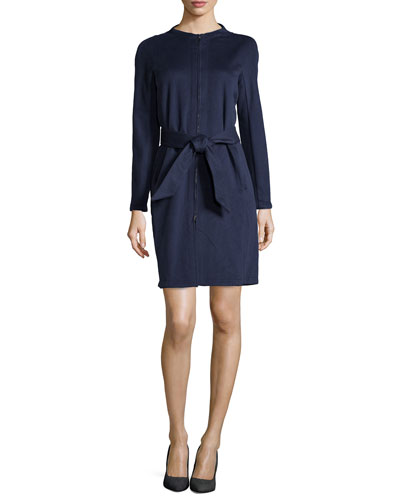 Zip-Front Collarless Coat with Tie Belt, Navy