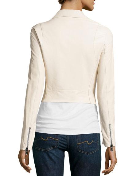 Asymmetric Leather Cropped Jacket, Ivory