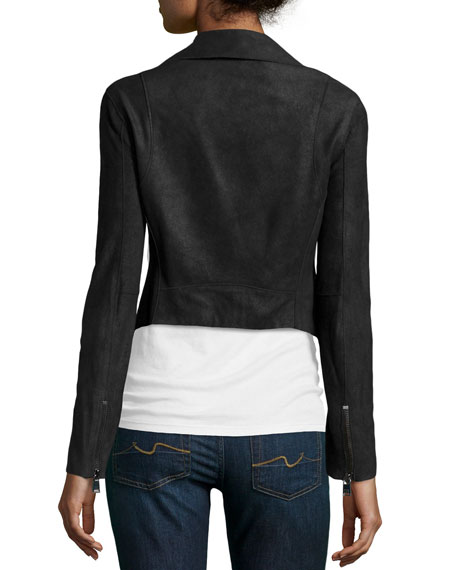 Asymmetric Leather Cropped Jacket, Black