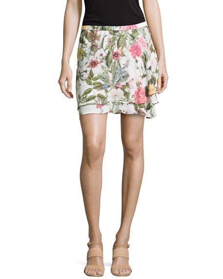 Haute Hippie Floral-Print Chiffon Skirt