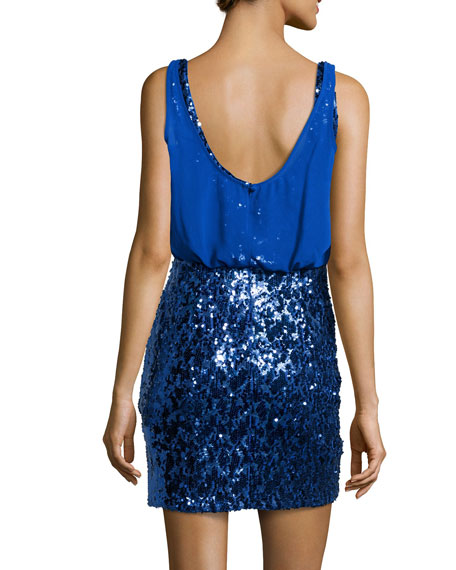Chiffon & Sequined Blouson Dress
