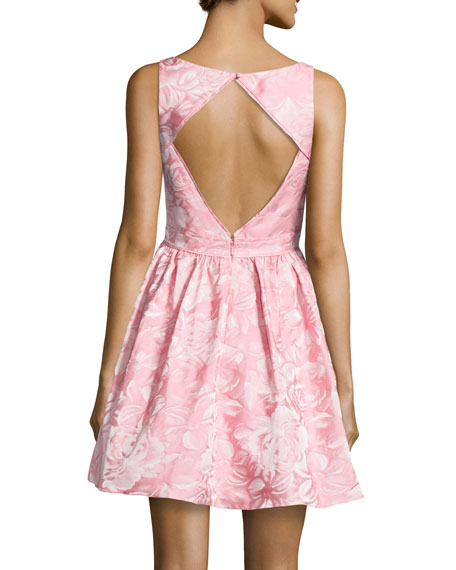 Sleeveless Floral Jacquard Party Dress