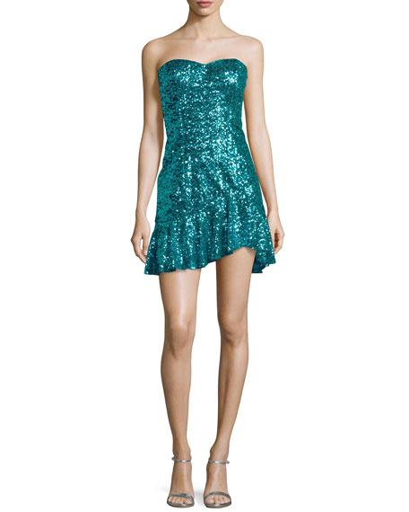 Strapless Sequined Flutter-Hem Dress