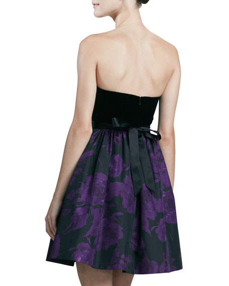 Strapless Printed Cocktail Dress, Black/Purple