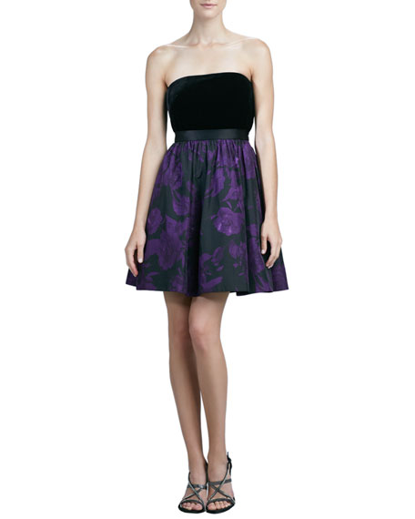 Aidan Mattox Strapless Printed Cocktail Dress, Black/Purple
