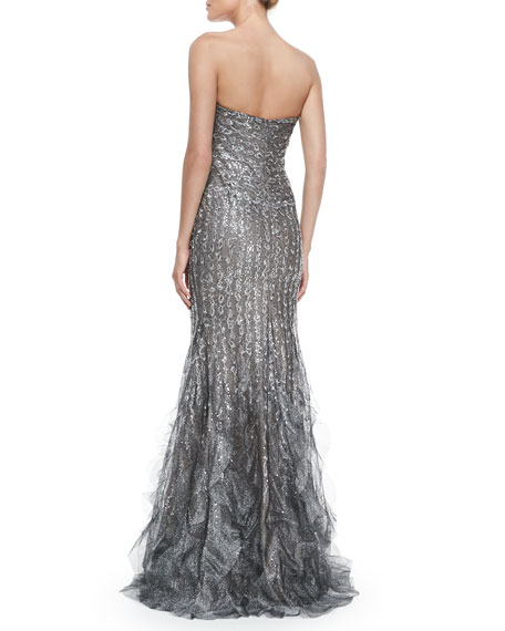 Strapless Paillette Gown with Ruffle Hem